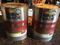 2 x 5Ltr Dulux Trade Weathersheild Smooth masonry Paint (1 White / 1 Magnolia)NEW