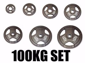 """FXR SPORTS BRAND NEW TRI GRIP IRON OLYMPIC WEIGHT DISC PLATES WEIGHTS GYM - 50MM 2"""" HOLE"""