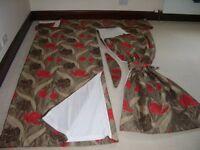 Patio door curtains with pelmet and tie backs.