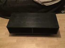 Black tv unit, matching shelf and 2 seater leather sofa. Will sell together or as individual items