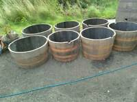 Oak whisky barrel planters