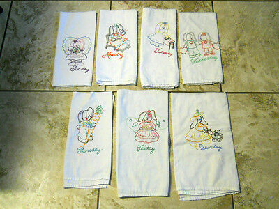 Vtg Bunny Rabbit Bunnies Embroidered Flour Sack Dish Towels Days of the Week Lot