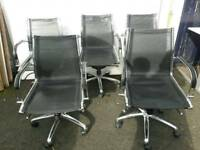 5 black and chrome office chairs