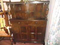Repro Court Cupboard c1930-40 solid oak - Cabinet Dresser Storage Sideboard