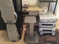 Technics hifi system with speakers and stands good condition