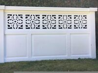 Painted, solid wood double headboard.