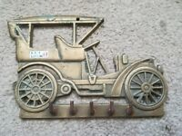 A Solid Brass Wall Hanging Key Holder Of An Old Car