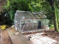 Aluminium frame greenhouse 10ft x 8ft