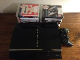 PS3 backwards compatible. Controller, 19 games + cables