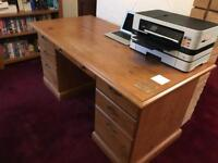 Large wooden office desk. 7 drawers and in good condition.