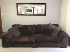 Chocolate Brown 4 seater sofa, large 2 seater sofa & storage pouffee