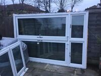 PVC double doors and frame with two top windows