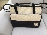 Cream and Black spotty baby changing bag