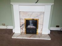 White fireplace surround, marble hearth and accessories