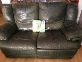 Green 2-seater Leather Sofa