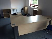 5 desks chairs, cabinets and filing cabinets