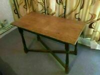 Solid Oak Antique Coffee Table or Side Hallway Occasional Table