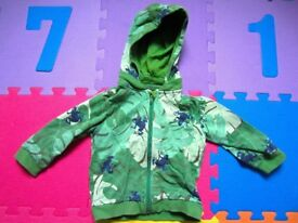 Polarn O. Pyret Green Tree Frog Hoodie. Size 1.5 - 2 Years, or 18 - 24 months.