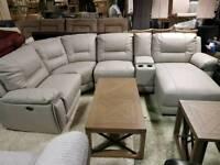 Ivory grey leather corner sofa recliner