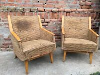 RETRO Timber Framed Set of Easy Chairs Eye-catching Design German Mid Century