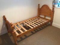 Pine single bed base and frame