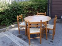 Pine table and 4 chairs, good condition, £20