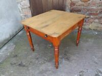 Victorian 'scrub top' pine kitchen table, really old and rustic. 90cm x 80cm top.