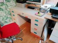 Large solid oak 1950s upcycled desk