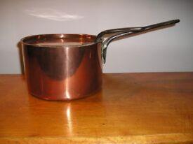 Victorian copper saucepan and lid