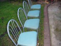Green dinning chairs or garden metal quanity 4