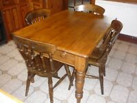 Pine Farmhouse Kitchen Table and 4 Chairs