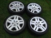 Volkswagen Manhatten Alloy Wheels with adapters 18inch 5x100 5x130 Golf BORA Porsche