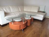 S-shape coffee table with storage and 2 stools - excellent condition - delivery available