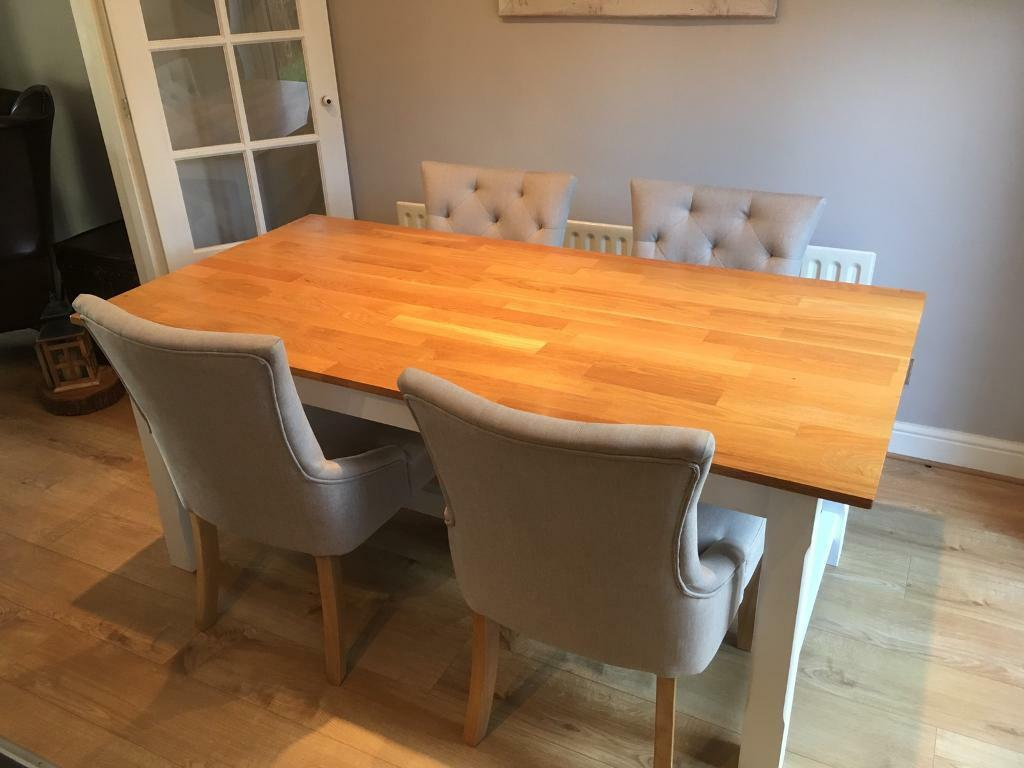 Next 4 X Grey Dining Room Chairs