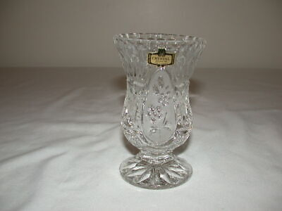 SMALL CRYSTAL FOOTED VASE FROSTED FLOWER PATTERN FROM ZAJECAR 24% LEAD CRYSTAL