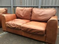 2 and 3 seater brown genuine leather sofas