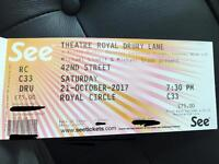 1 ticket for 42nd Street (retail value: 75£). 3rd row on Royal Circle, Perfect view on stage