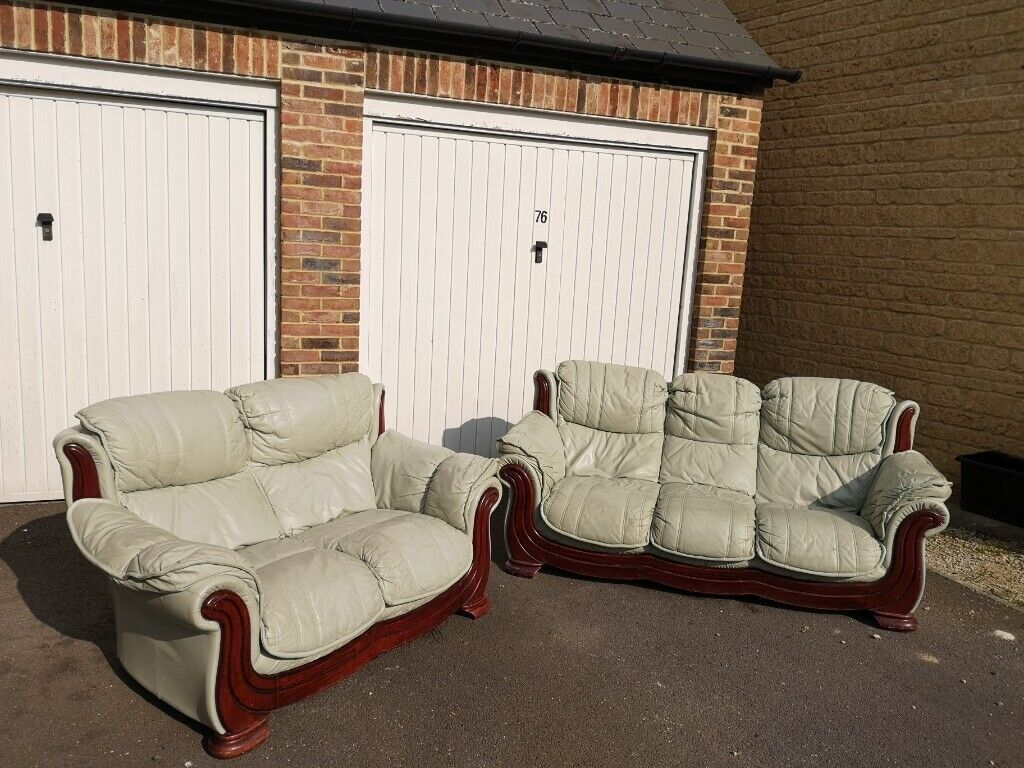 Wondrous Free 3 Person 2 Person Matching Green Leather Sofa Set Machost Co Dining Chair Design Ideas Machostcouk