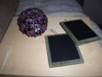beaded candle holder and 2 rustic mini black boards to hang (other items)