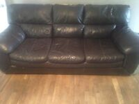 3 seater dark brown leather sofa settee three seat