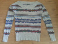 American Eagle Outfitters geometric multicoloured and white pattern wool Jumper