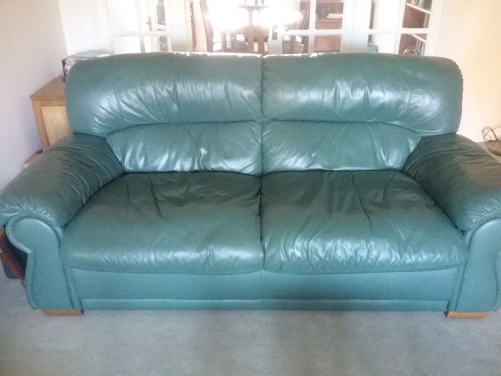 2 X Nicoletti Silvana Leather 3 Seater Sofas Dark Green