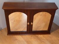 Quality mahogany bathroom cabinet with matching mirror