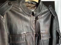 Next women's brown leather jacket size 16
