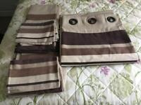 Two two double devuet and four pillow cases and curtains
