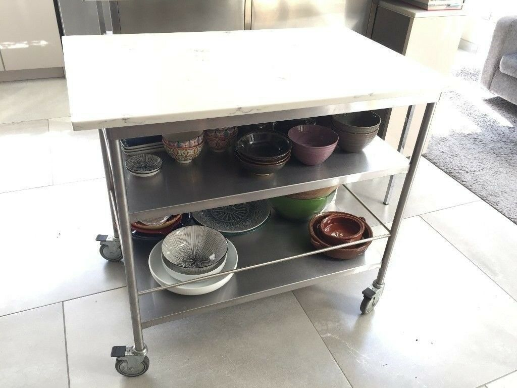 Style Kitchen Island Trolley Stainless Steel And Marble