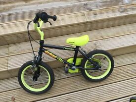 "Halfords 'Claws' 14"" childs bike with stabilisers for age 4-6 year olds. In good condition."