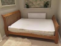 Oak effect sleigh bed