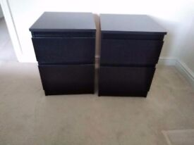 2 black Bedside/ Chest of two drawers. Collection in Abingdon