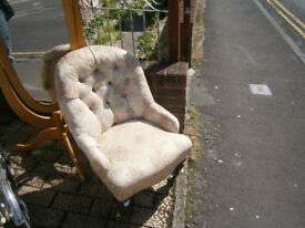 victorian button back nursing chair in yeovil